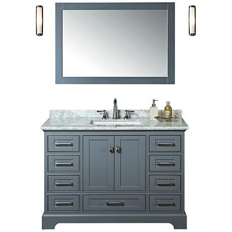 "Newport 48"" Gray Single Sink Bathroom Vanity with Mirror"