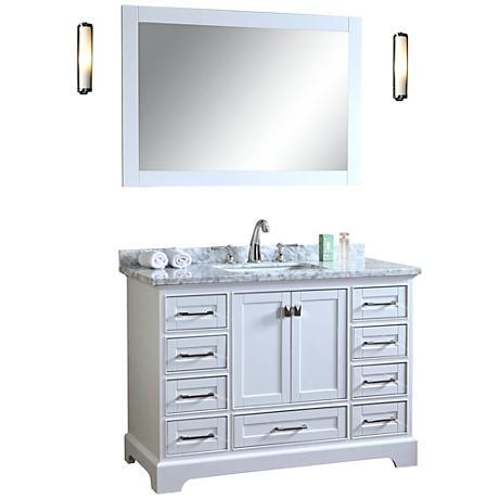 "Newport 48"" White Single Sink Bathroom Vanity with Mirror"