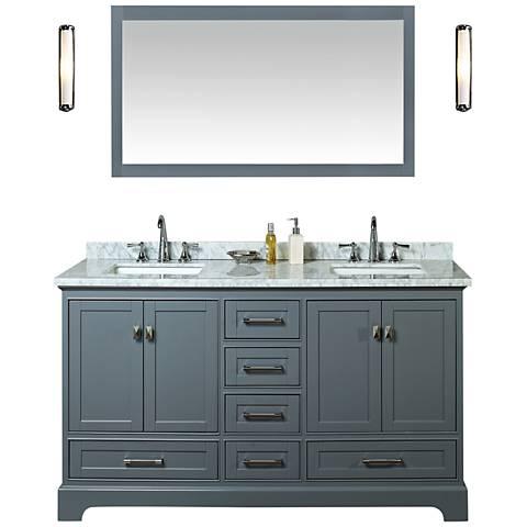 """Newport 60"""" Gray Double Sink Bathroom Vanity with Mirror"""