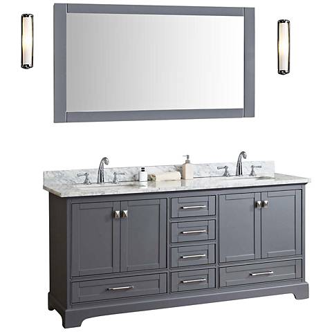 "Newport 72"" Gray Double Sink Bathroom Vanity with Mirror"
