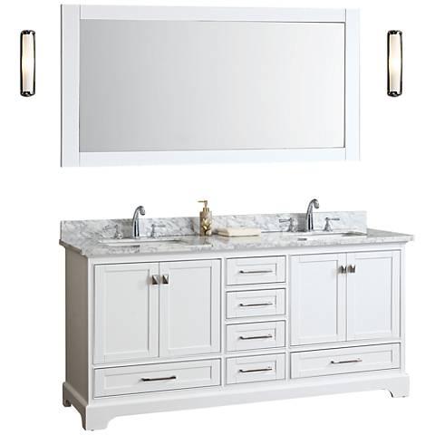 "Newport 72"" White Double Sink Bathroom Vanity with Mirror"