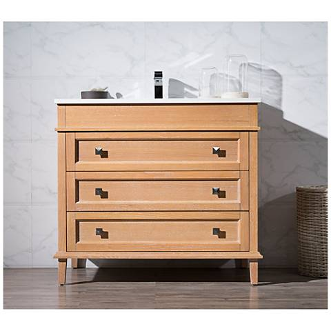 "Norwood 37"" Rustic Beige Single Sink Bathroom Vanity"