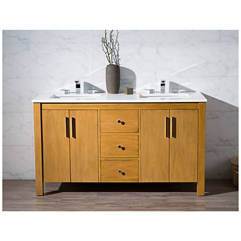 "Windsor 59"" Light Brown Double Sink Bathroom Vanity"