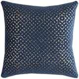 "Blake Geometric Foil Printed Navy 20"" Square Throw Pillow"