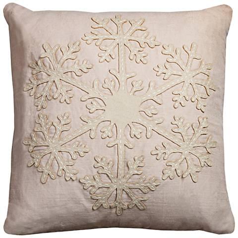 """Snow Beige Snowflake 20"""" Square Throw Pillow"""