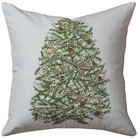 "Evergreen Green Tree Christmas 18"" Square Throw Pillow"