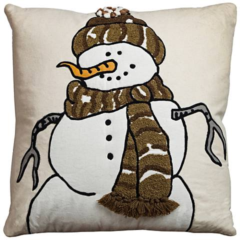 "Flurries Cream Snowman 18"" Square Throw Pillow"