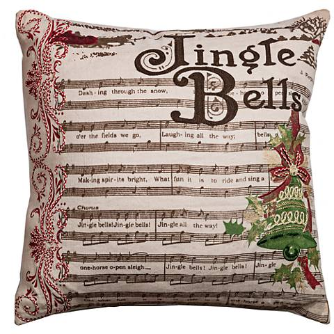 "Lyric Beige Jingle Bells 20"" Square Throw Pillow"