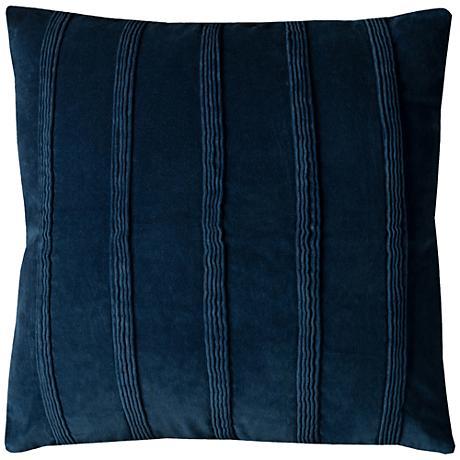 "Arturo Navy Pintuck Stripes 22"" Square Throw Pillow"