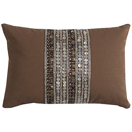 "Rachel Brown Multi-Stripe Beaded 18"" x 13"" Throw Pillow"