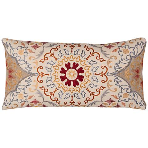 "Macie Multi-Color Brown Medallion 21"" x 11"" Throw Pillow"