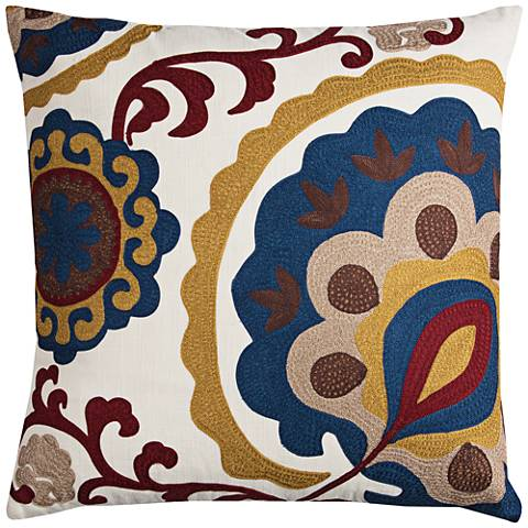 """Madison Multi-Color Brown Medallion 22"""" Square Throw Pillow"""