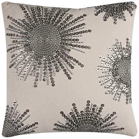 "Laine Gray Starburst Beaded 20"" Square Throw Pillow"