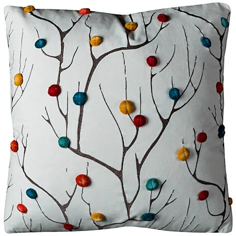 "Branches Multi-Color Abstract Tree 20"" Square Throw Pillow"