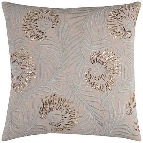 """Peacock Gray Feathers Embellished Beaded 20"""" Square Pillow"""