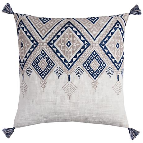 "Zella Tribal Aztek Ivory and Blue 20"" Square Throw Pillow"