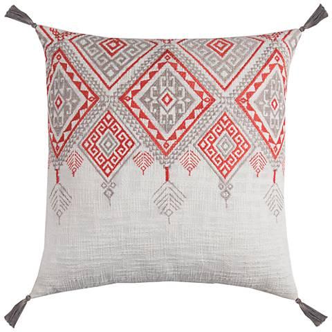 "Zella Tribal Aztek Ivory and Orange 20"" Square Throw Pillow"