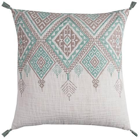 Ivory Colored Decorative Pillows : Zella Tribal Aztek Ivory and Aqua 20