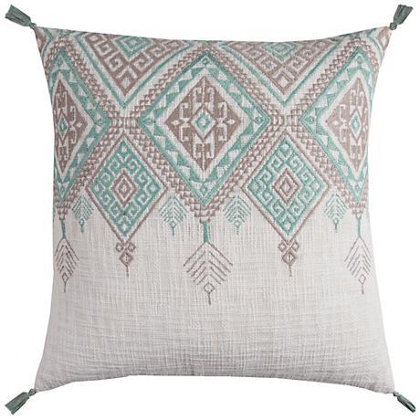 "Zella Tribal Aztek Ivory and Aqua 20"" Square Throw Pillow"