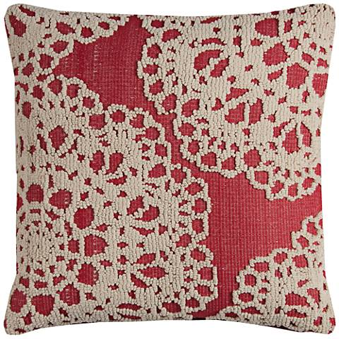 "Suzana White and Red Textural Medallion 20"" Square Pillow"