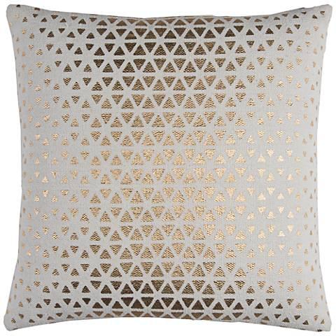"""Sasha White and Gold Foil Diamond 20"""" Square Throw Pillow"""