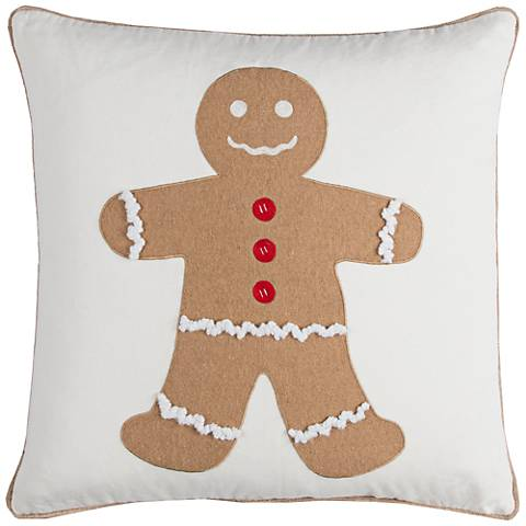 "Gingerbread Man 20"" Square Throw Pillow"