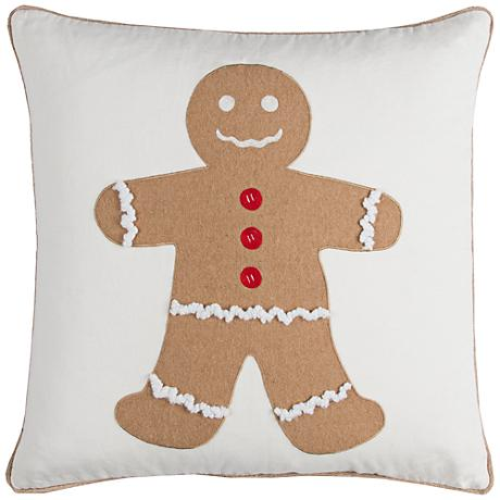 """Gingerbread Man 20"""" Square Throw Pillow"""