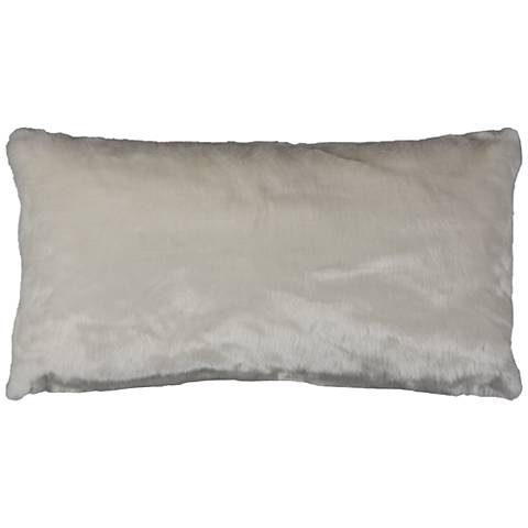"Gracie White Faux Fur 26"" x 14"" Throw Pillow"