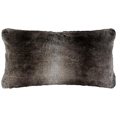 "Gracie Taupe Faux Fur 26"" x 14"" Throw Pillow"