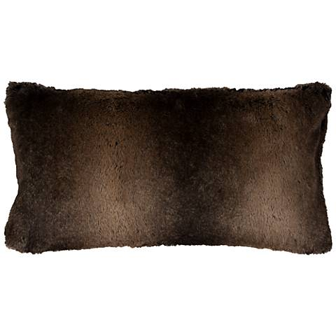"Gracie Brown Faux Fur 26"" x 14"" Throw Pillow"