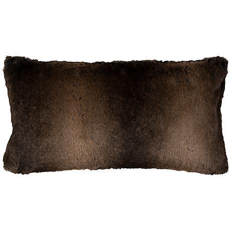 "Gracie Brown Faux Fur 26"" x 14"" Throw Pillow"