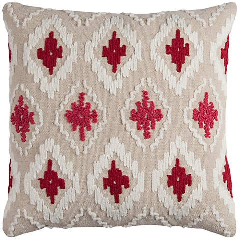 "Catrina Diamond Natural 20"" Square Embroidered Throw Pillow"