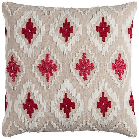 "Catrina Diamond Natural 20"" Square Embroidered Throw Pillow"