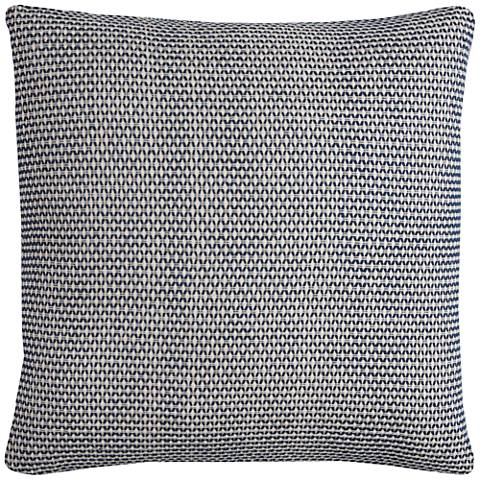 "Renae Textured Woven Indigo 22"" Square Throw Pillow"