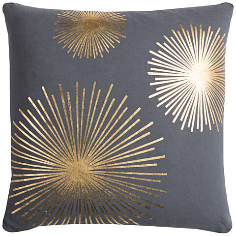 "Rachel Kate Starburst Gray 20"" Square Throw Pillow"