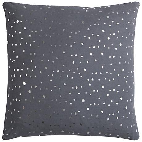 "Rachel Kate Dots Gray 20"" Square Throw Pillow"