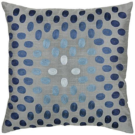 "Lyana Blue Dots 18"" Square Throw Pillow"