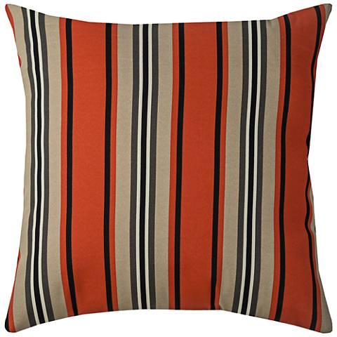 "Daniel Stripe Red Pepper 22"" Square Indoor-Outdoor Pillow"