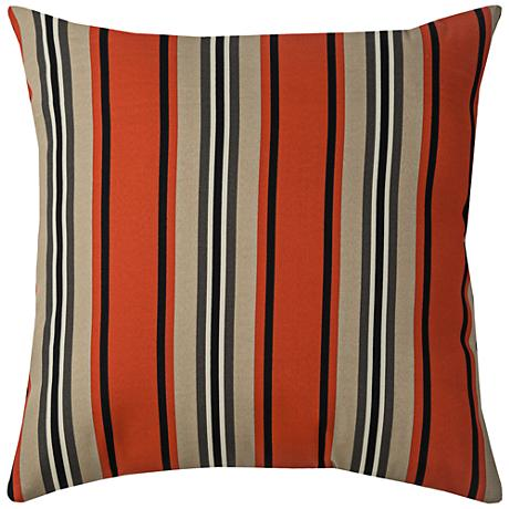 "Daniel Stripe Red Pepper 22"" Square Outdoor Throw Pillow"