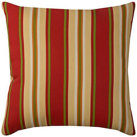 "Daniel Stripe Sangria Red 22"" Square Outdoor Throw Pillow"