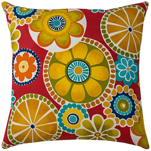 """Poppy Multi-Color Floral Medallion 22""""W Outdoor Pillow"""