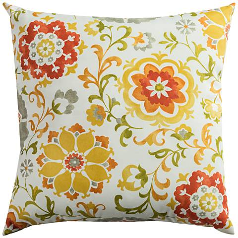 """Elena Amber Floral 22"""" Square Indoor-Outdoor Pillow"""