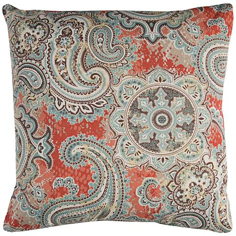 "Houssie Gray Paisley 22"" Square Indoor-Outdoor Pillow"