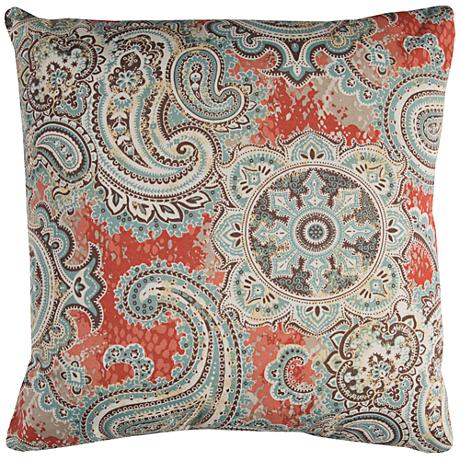 """Houssie Multi-Color Gray Paisley 22"""" Square Outdoor Pillow"""