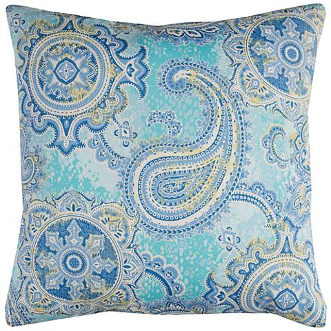 "Houssie Blue Paisley 22"" Square Throw Indoor-Outdoor Pillow"