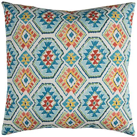"""Eresha Blue Diamond 22"""" Square Outdoor Throw Pillow"""