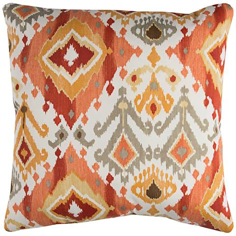 "Lavezzi Rust Diamond 22"" Square Indoor-Outdoor Pillow"