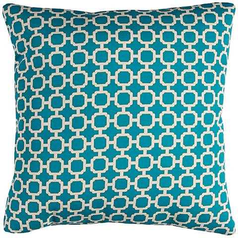 "Hockley Teal Lattice 22"" Square Indoor-Outdoor Pillow"