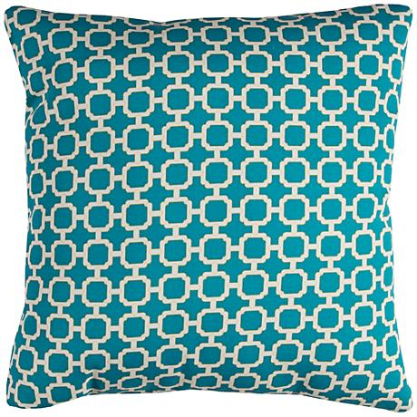 "Hockley Teal Lattice 22"" Square Outdoor Throw Pillow"