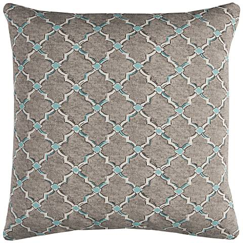 "Eaton Gray Diamond 22"" Square Throw Indoor-Outdoor Pillow"